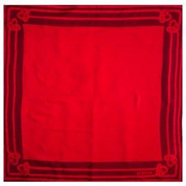 Lanvin-LANVIN PARIS ART DECO RARE SILK SCARF-Dark red