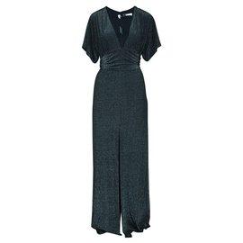 Halston Heritage-Long Metallic Dress-Metallic