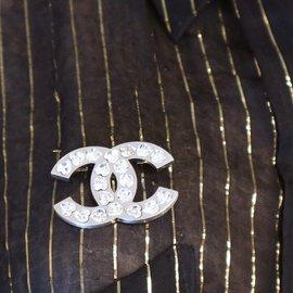 Chanel-Chanel Silver Medium CC Heart Crystals Brooch-Silvery
