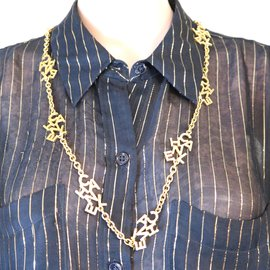 Chanel-Chanel Gold CC Spelled Out 10 Motif Charms Choker Necklace-Golden