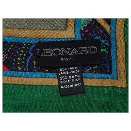 Leonard-LEONARD PARIS WOOL AND SILK PAREO SHAWL-Multiple colors