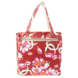Chanel-Red Monogram Floral Tote Bag-Other