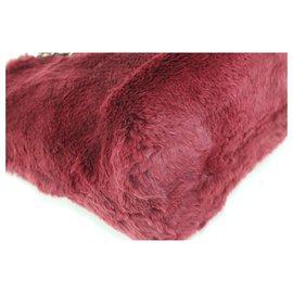 Chanel-Bordeaux Rabbit Fur Lapin Chain Shopper tote bag-Other