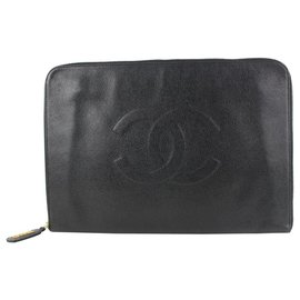 Chanel-Timeless Extra Large Black Caviar CC Logo Clutch Document O-Case-Other