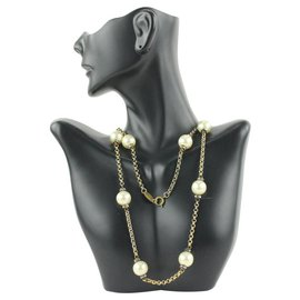Chanel-Gold Crystal Pearl Chain Necklace-Other