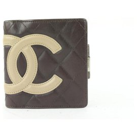 Chanel-Brown Quilted Cambon Ligne Compact Wallet-Other