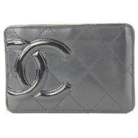 Chanel-Black Quilted Cambon Ligne Card Holder Wallet Case-Other