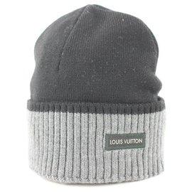 Louis Vuitton-Black x Grey Beanie Ski Hat Skully Skull Cap-Other