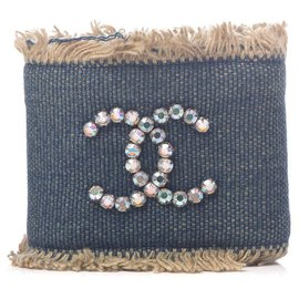 Chanel-01p Denim CC Crystal Logo Cuff Bracelet-Other