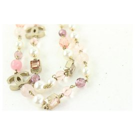 Chanel-07a Pink Stone Pearl CC Necklace-Other