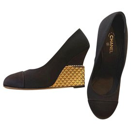 Chanel-Chanel black wedges with quilted gold heels shoes EU38-Black