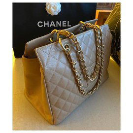 Chanel-Chanel Taupe Caviar grand shopping tote GHW-Beige