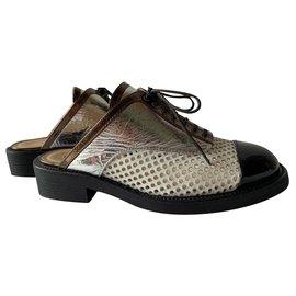 Chanel-Mules-Black,White,Metallic,Bronze