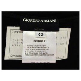 Giorgio Armani-GIORGIO ARMANI WILD PLEATED LEG SILK PANTS-Black