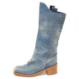 Chanel-CHANEL CAVALIERE BOOTS-Blue