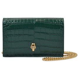 Alexander Mcqueen-Skull Mini Bag in Green Emerald Embrossed Leather-Green