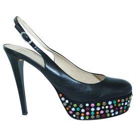 Giuseppe Zanotti-Black Slingback with Colourful Crystal Platform Heels-Black
