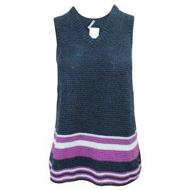 Chanel-Dark Blue V-neckline Sleeveless Top-Blue