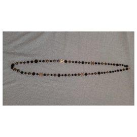 Chanel-Long necklaces-Black,Metallic