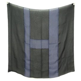 Hermès-NEW H SCARF AS HERMES SHINY EMBROIDERED WITH BEADS CRYSTAL MOUSSELINE SCARF-Black
