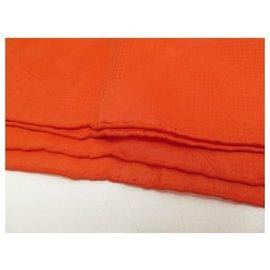 Hermès-NEW STOLE HERMES CONFETTIS D'EX LIBRIS SILK MOUSSELINE SCARF STOLE-Orange