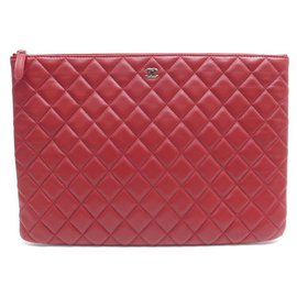 Chanel-CHANEL BIG POUCH CLASSIC GM IN QUILTED LEATHER RED POUCH-Red
