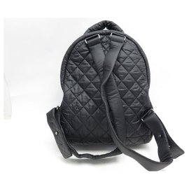 Chanel-CHANEL COCO COCOON BACKPACK IN BLACK QUILTED CANVAS NYLON BLACK BACKPACK BAG-Black