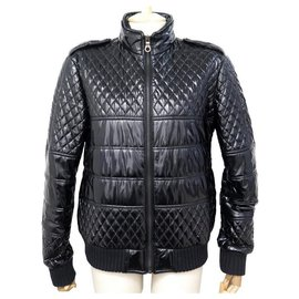 Chanel-NEW CHANEL JACKET QUILTED DOWN P42148 l 42 BLACK COAT JACKET-Black