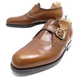 JM Weston-JM WESTON LOAFERS WITH BUCKLE 5.5E 39.5 40 BROWN LEATHER SHOES-Brown