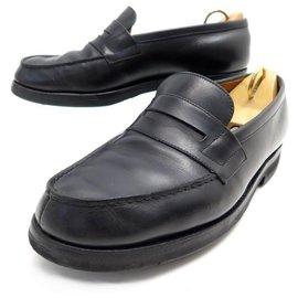 JM Weston-JM WESTON LOAFERS 180 5.5D 39.5 BLACK LEATHER LOAFERS-Black