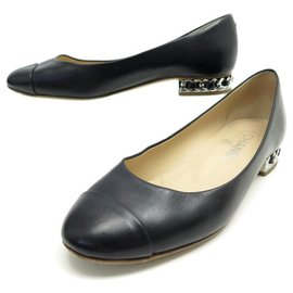 Chanel-CHANEL G CHAIN BALLERINAS SHOES28227 37 BLACK LEATHER SHOES-Black