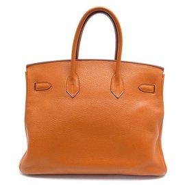 Hermès-SAC A MAIN HERMES BIRKIN 35 EN CUIR TOGO ORANGE 2007 ATTRIBUTS PALLADIES PURSE-Orange