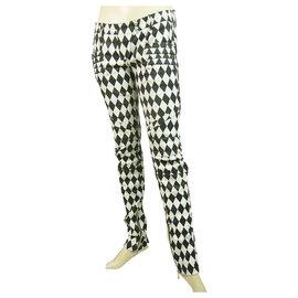 Balmain-Balmain Black & White Harlequin Print Zipper Cuffs Skinny Trousers Pants sz 36-Black