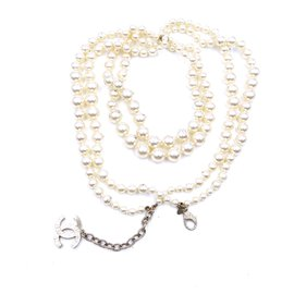 Chanel-Chanel Gold CC Pearls Two Way Belt Necklace-Golden