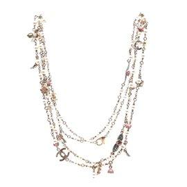 Chanel-Chanel Multicolor CC Pearls Flowers Enamel Long Necklace-Multiple colors