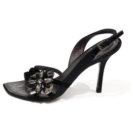 Louis Vuitton-LOUIS VUITTON HIGH HEEL SANDALS IN BLACK FLOWER ORMÉ SATIN IN METALIZED GRAY LEATHER AND BLACK STONE-Black