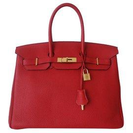 Hermès-Sac Hermes Birkin 35 rouge-Rouge