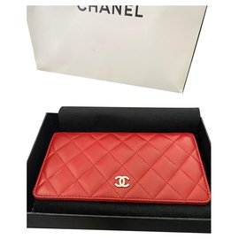 Chanel-WALLET - CHANEL CARD HOLDER IN LAMB LEATHER-Dark red