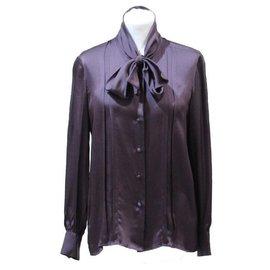 Chanel-CHANEL CREATIONS BLOUSE IN PURPLE SILK SATIN-Purple