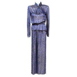 Chanel-CHANEL CREATIONS PANTS BLOUSE BLOUSE BLUE PURPLE SET-Blue,Purple