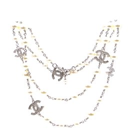 Chanel-Chanel Silver Pearls CC Crystals lined Strand Necklace-Silvery