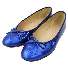 Chanel-Metallic Blue Coco Ballerina Flats-Other
