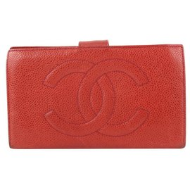 Chanel-Red Caviar Leather Timeless CC Logo Long Flap Wallet-Other