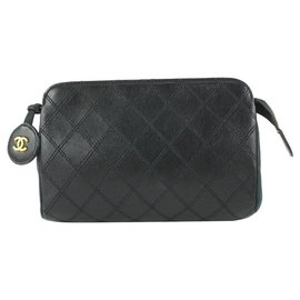 Chanel-Black Quilted Lambskin Leather Cosmetic Pouch Make Up Clutch-Other
