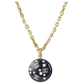 Chanel-05P CC Logo Pearl Black Chain Necklace-Other