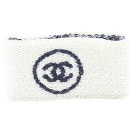 Chanel-White x Black Sweatband Wrist Band Gym Bracelet-Other