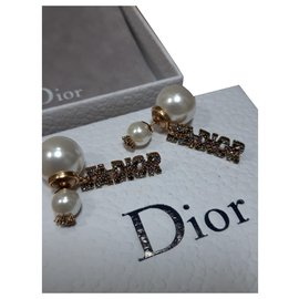 Dior-Boucles d'oreilles j'adior-Blanc cassé