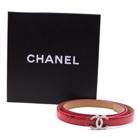 Chanel-Chanel Red CC Buckle Patent Leather Belt Size 80/32-Red