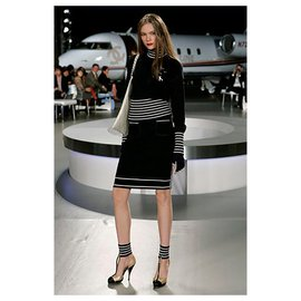 Chanel-Airplanes Knit Suit-Navy blue