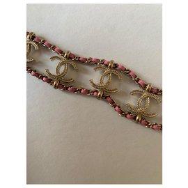 Chanel-Bracelets-Pink,Golden